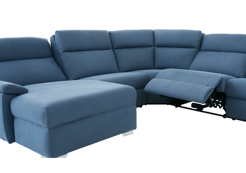 Blue Reclining and Motorized Upholstered Sectional Sofa with Adjustable Headrests - ELRAN product photo other06 L