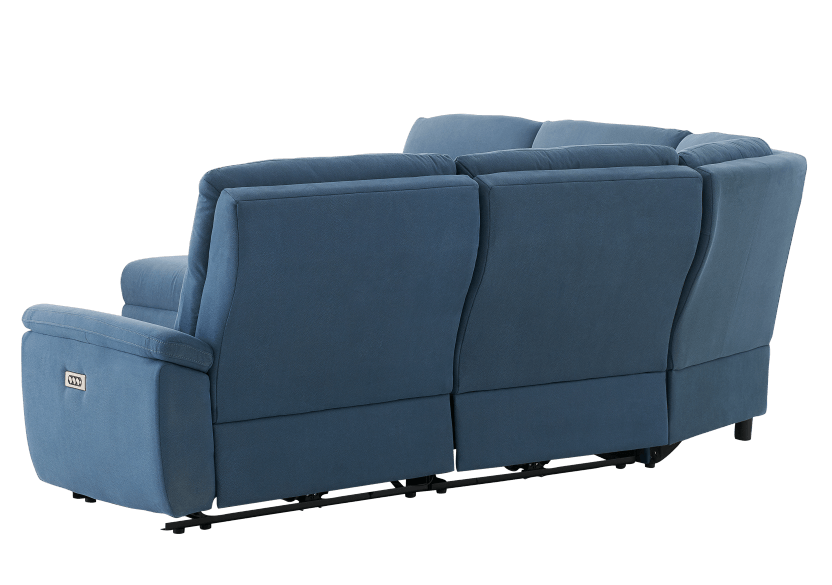 Blue Reclining and Motorized Upholstered Sectional Sofa with Adjustable Headrests - ELRAN product photo other08 L