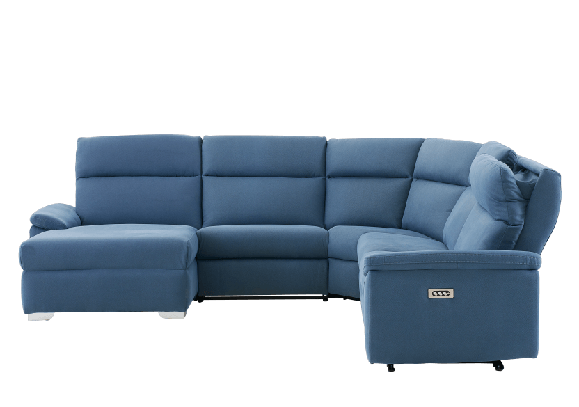 Blue Reclining and Motorized Upholstered Sectional Sofa with Adjustable Headrests - ELRAN product photo other11 L