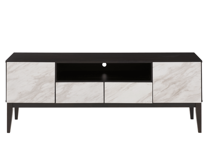 Brown TV Stand with Faux Marble Doors product photo Front View L