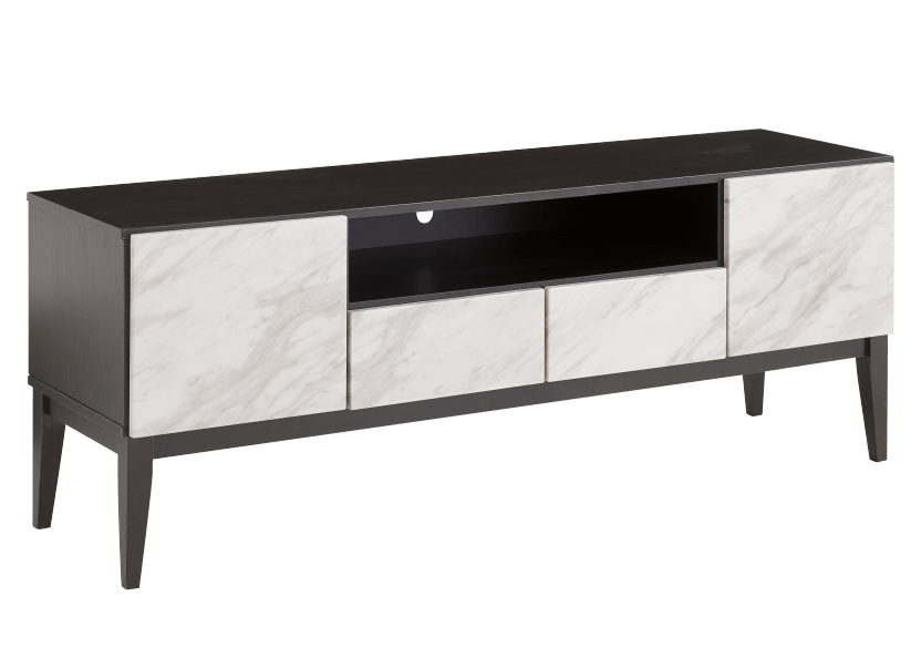 Brown TV Stand with Faux Marble Doors product photo other01 L