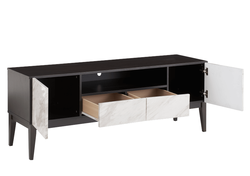 Brown TV Stand with Faux Marble Doors product photo other02 L
