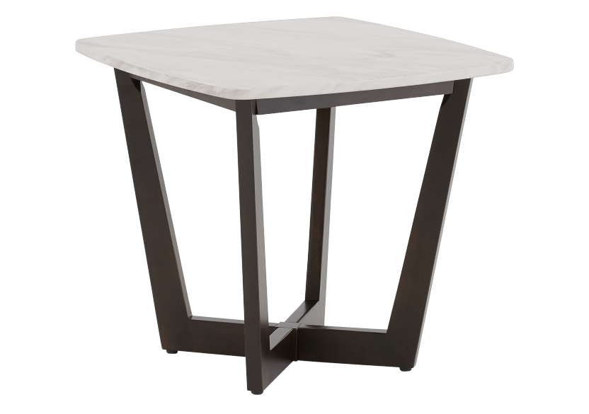 Brown Wood End Table with Marble Look Top product photo other01 L