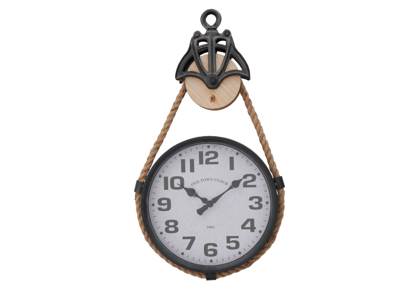 Metal and Rope Clock product photo Front View L