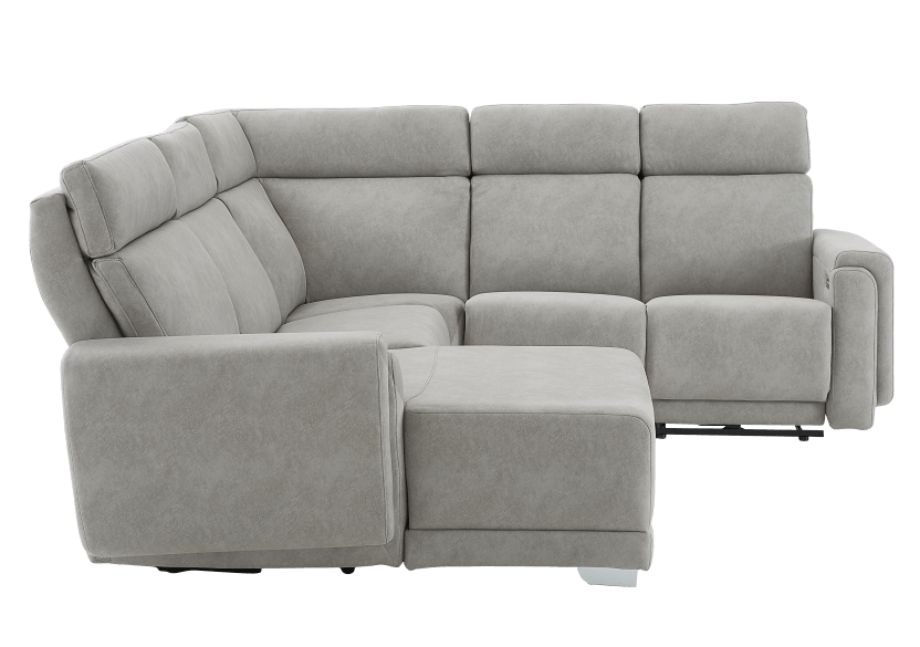 Grey Reclining and Motorized Upholstered Sectional Sofa with Adjustable Headrests - ELRAN product photo