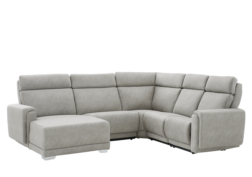 Grey Reclining and Motorized Upholstered Sectional Sofa with Adjustable Headrests - ELRAN product photo other01 L