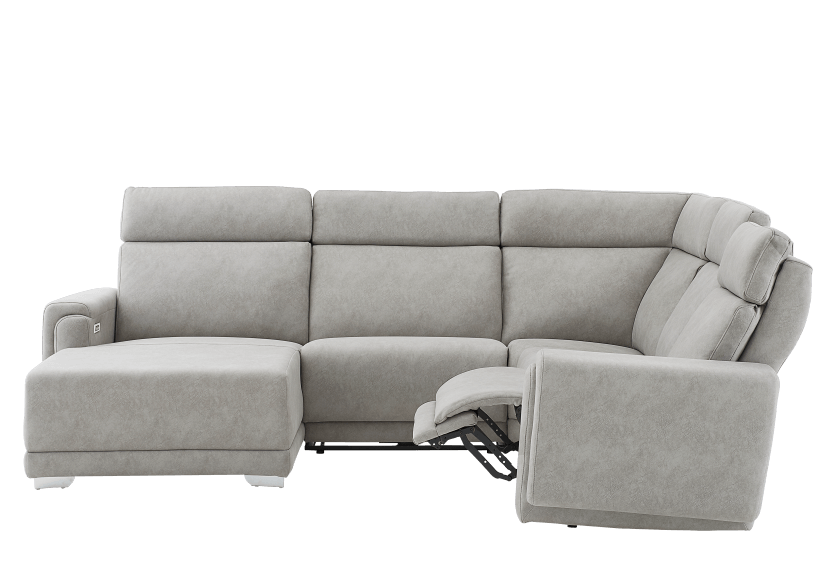 Grey Reclining and Motorized Upholstered Sectional Sofa with Adjustable Headrests - ELRAN product photo other04 L