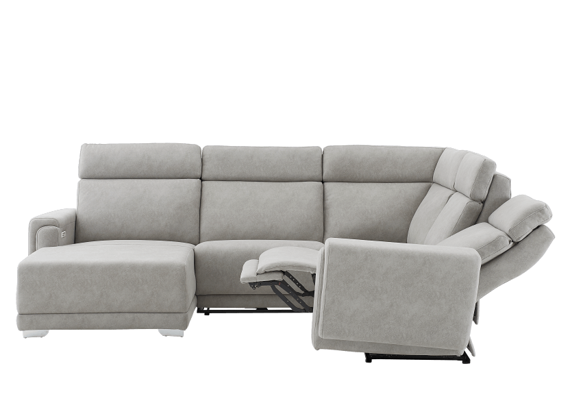 Grey Reclining and Motorized Upholstered Sectional Sofa with Adjustable Headrests - ELRAN product photo other05 L