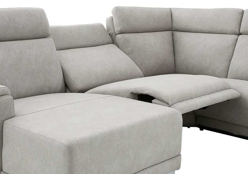 Grey Reclining and Motorized Upholstered Sectional Sofa with Adjustable Headrests - ELRAN product photo other06 L