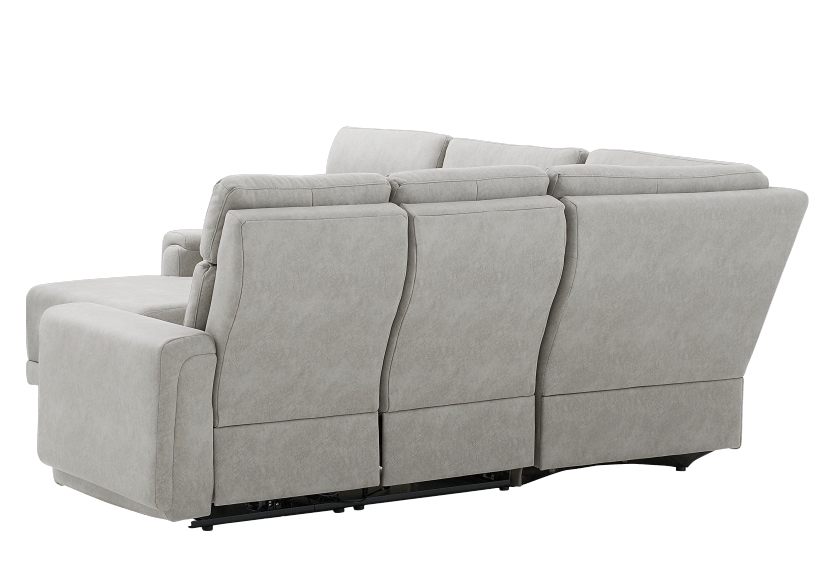 Grey Reclining and Motorized Upholstered Sectional Sofa with Adjustable Headrests - ELRAN product photo other08 L