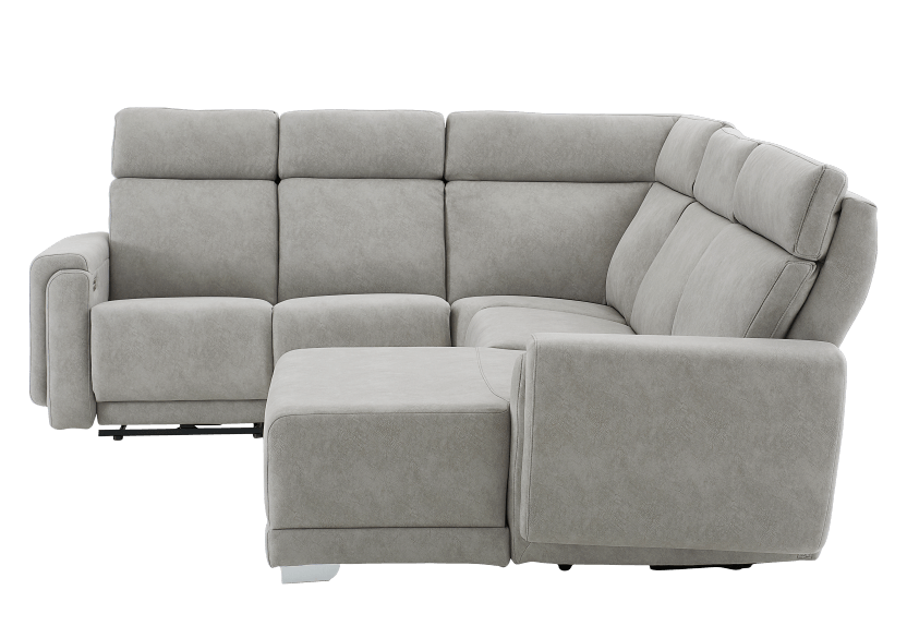 Grey Reclining and Motorized Upholstered Sectional Sofa with Adjustable Headrests - ELRAN product photo Front View L