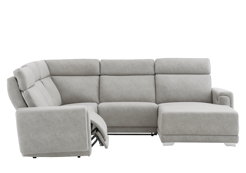 Grey Reclining and Motorized Upholstered Sectional Sofa with Adjustable Headrests - ELRAN product photo other03 L