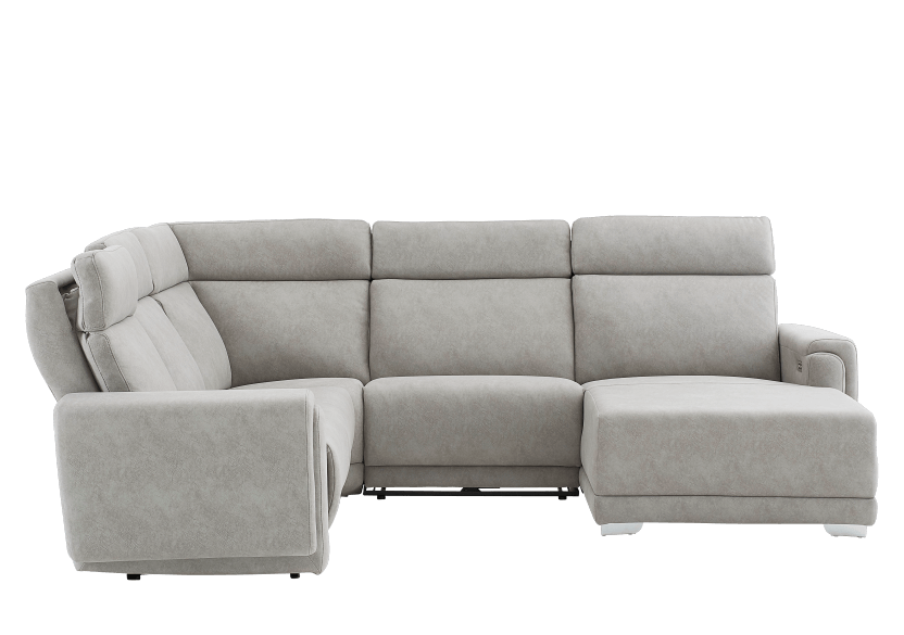 Grey Reclining and Motorized Upholstered Sectional Sofa with Adjustable Headrests - ELRAN product photo other11 L