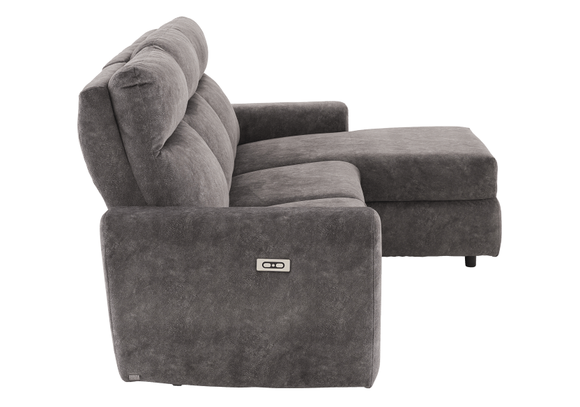 Grey Reclining and Motorized Upholstered Sectional Sofa with Adjustable Headrests - ELRAN product photo other02 L