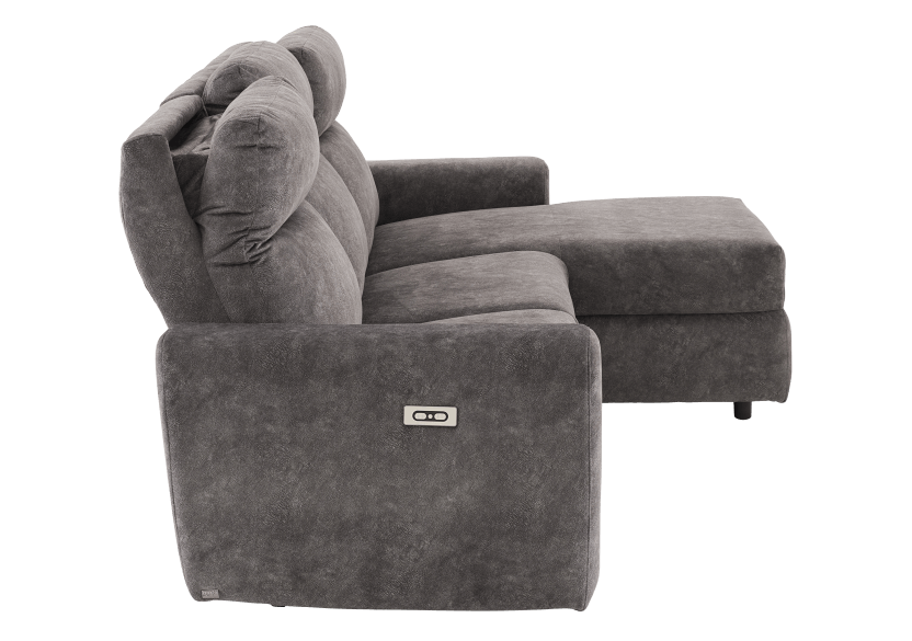 Grey Reclining and Motorized Upholstered Sectional Sofa with Adjustable Headrests - ELRAN product photo other10 L