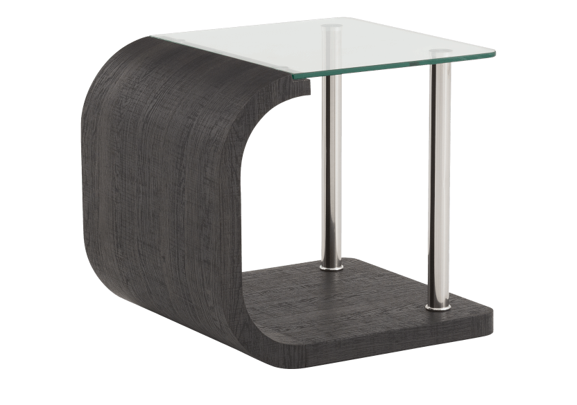 Dark Grey End Table with Tempered Glass Top product photo other01 L