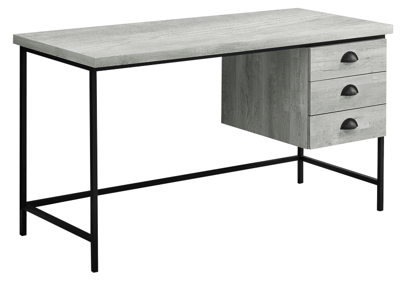 Grey and Black Desk with Drawers product photo Front View L
