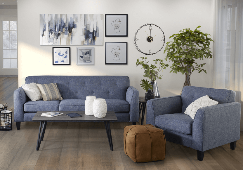 Blue Upholstered Sofa product photo other07 L