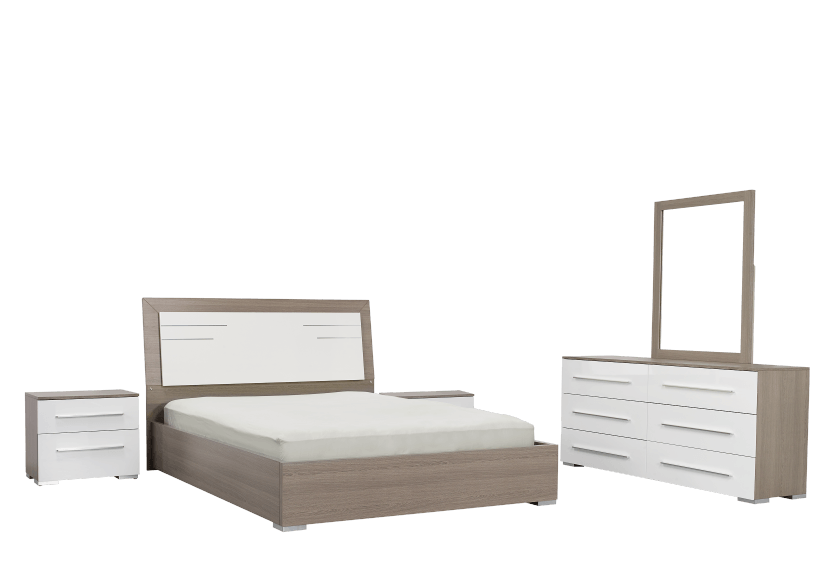 White and Grey Bedroom Set - Queen product photo Front View L