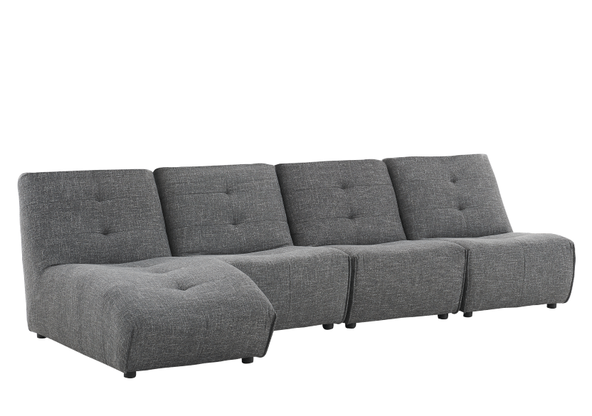 Dark Grey Upholstered Modular Sectional Sofa product photo other01 L