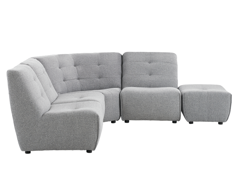Grey Upholstered Modular Sectional Sofa product photo other02 L