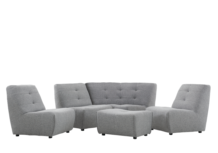 Grey Upholstered Modular Sectional Sofa product photo other07 L