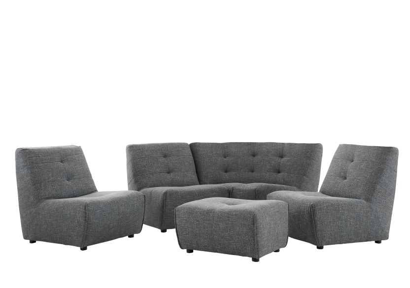 Dark Grey Upholstered Modular Sectional Sofa product photo other07 L