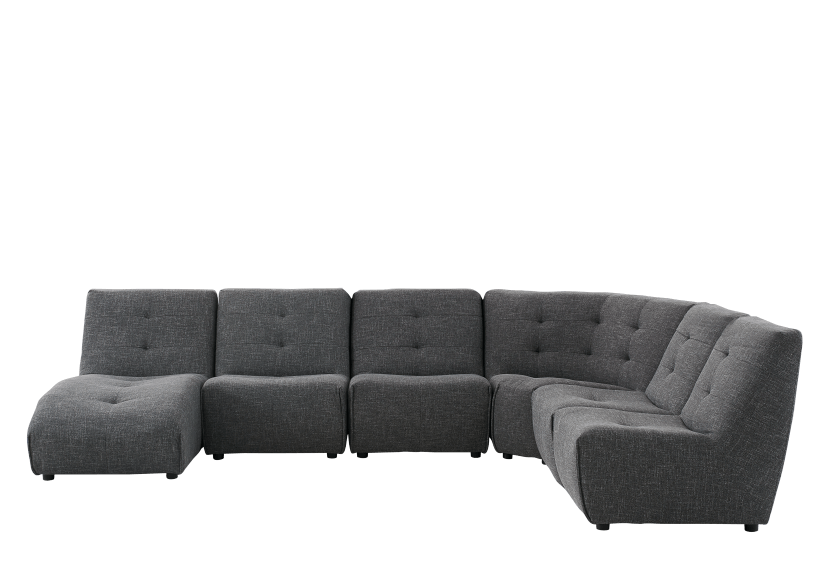 Dark Grey Upholstered Modular Sectional Sofa product photo Front View L