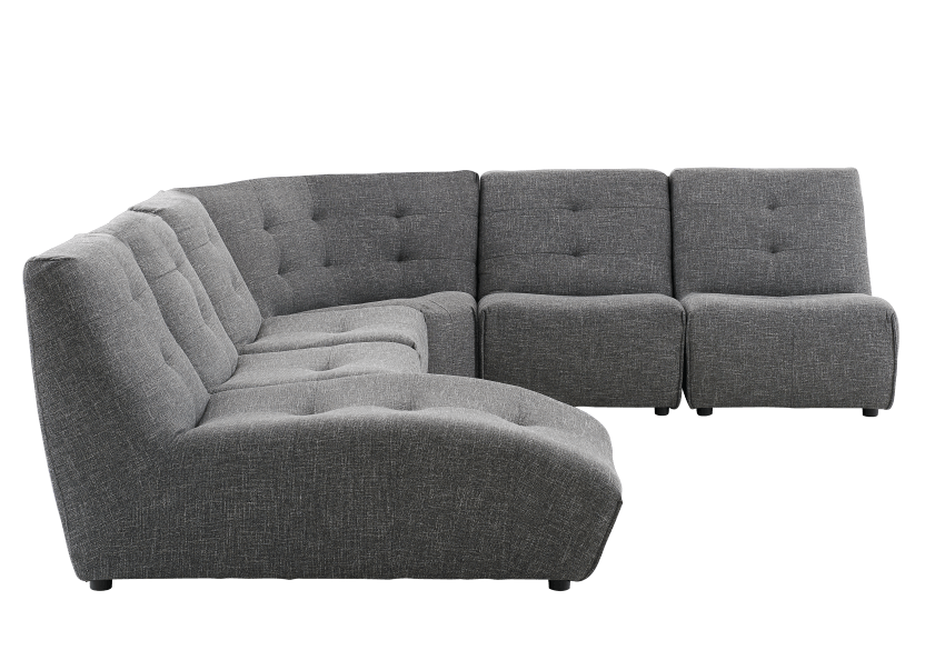 Dark Grey Upholstered Modular Sectional Sofa product photo other02 L
