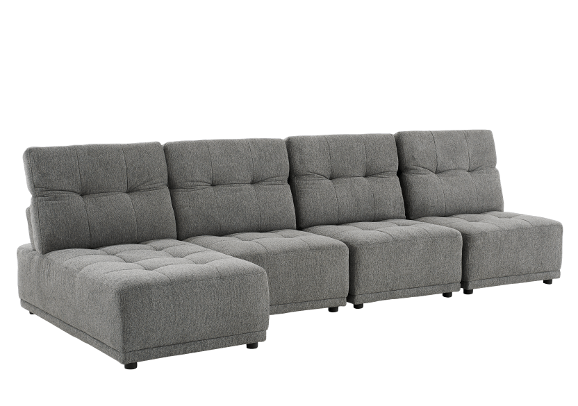 Grey Upholstered Modular Sectional Sofa with Adjustable Backrests and Headrests product photo other01 L