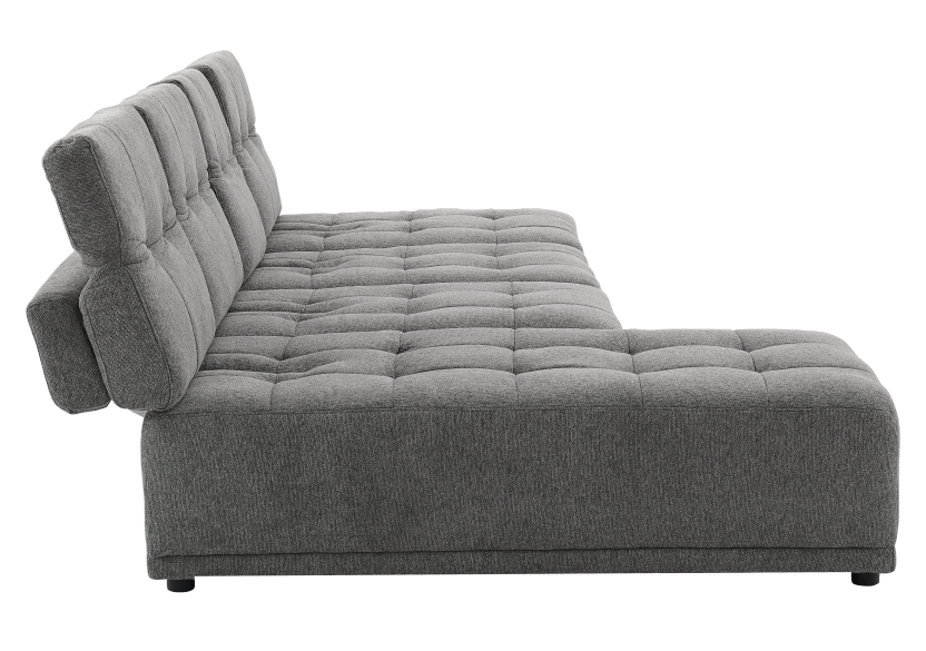 Grey Upholstered Modular Sectional Sofa with Adjustable Backrests and Headrests product photo other03 L