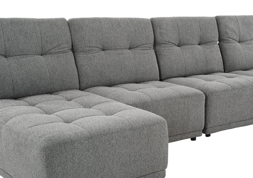 Grey Upholstered Modular Sectional Sofa with Adjustable Backrests and Headrests product photo other04 L