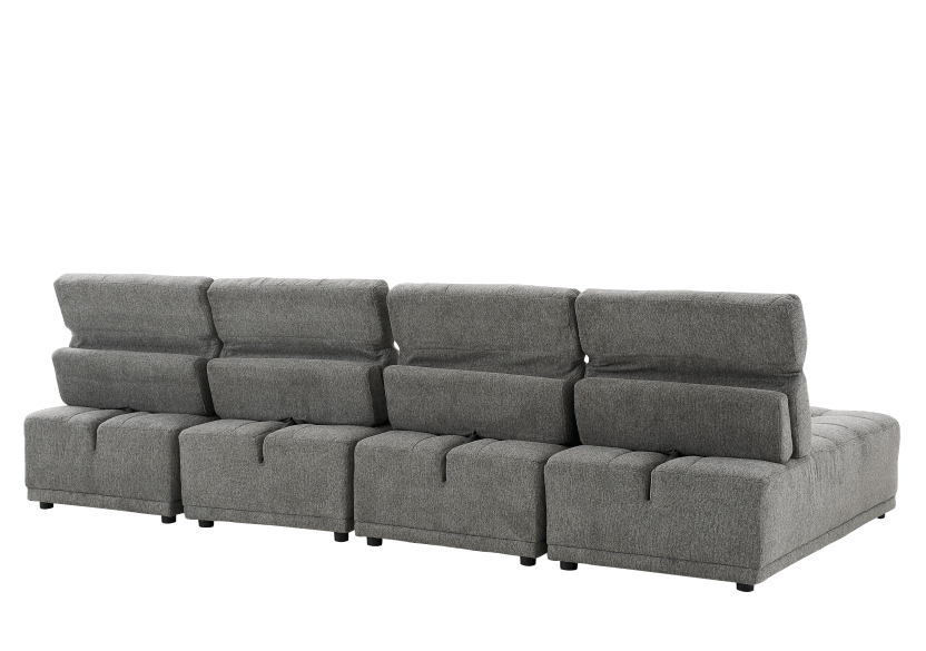Grey Upholstered Modular Sectional Sofa with Adjustable Backrests and Headrests product photo other06 L