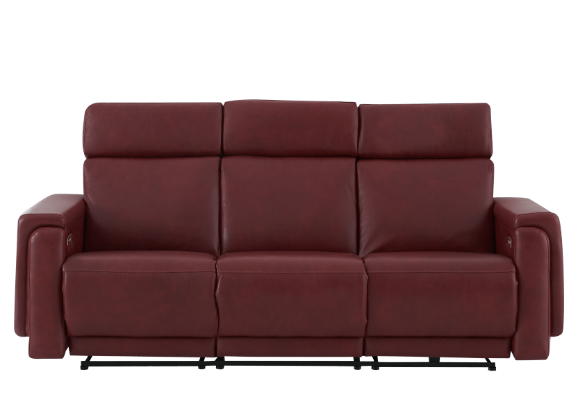 Red Reclining and Battery Motorized Sofa with Genuine Leather Seats - ELRAN product photo