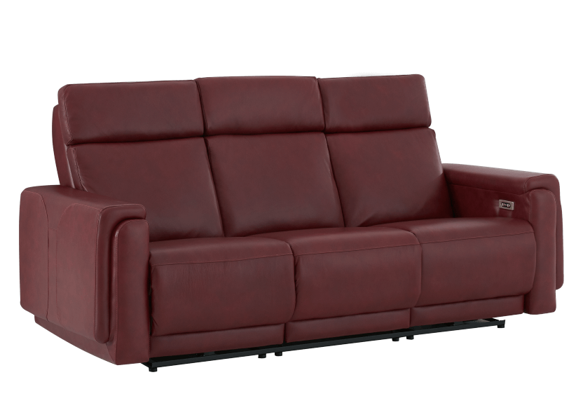 Red Reclining and Battery Motorized Sofa with Genuine Leather Seats - ELRAN product photo other01 L