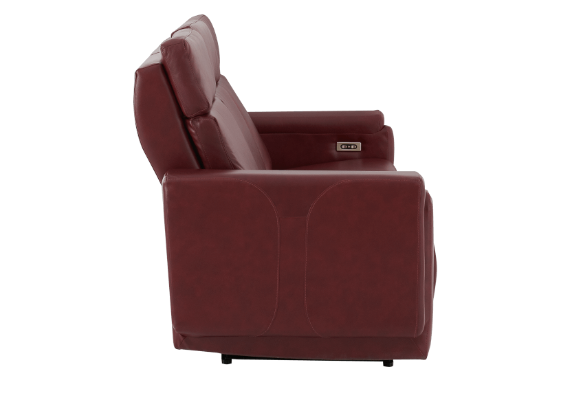 Red Reclining and Battery Motorized Sofa with Genuine Leather Seats - ELRAN product photo other02 L