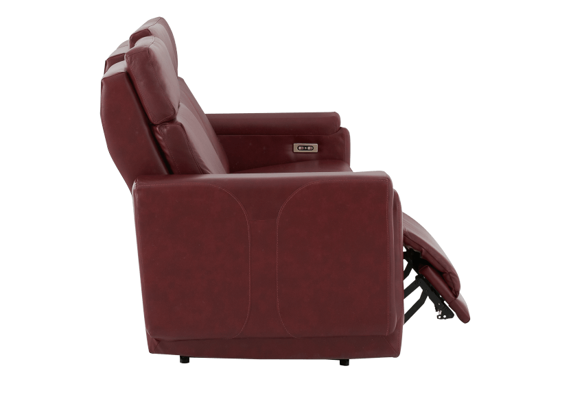 Red Reclining and Battery Motorized Sofa with Genuine Leather Seats - ELRAN product photo other03 L
