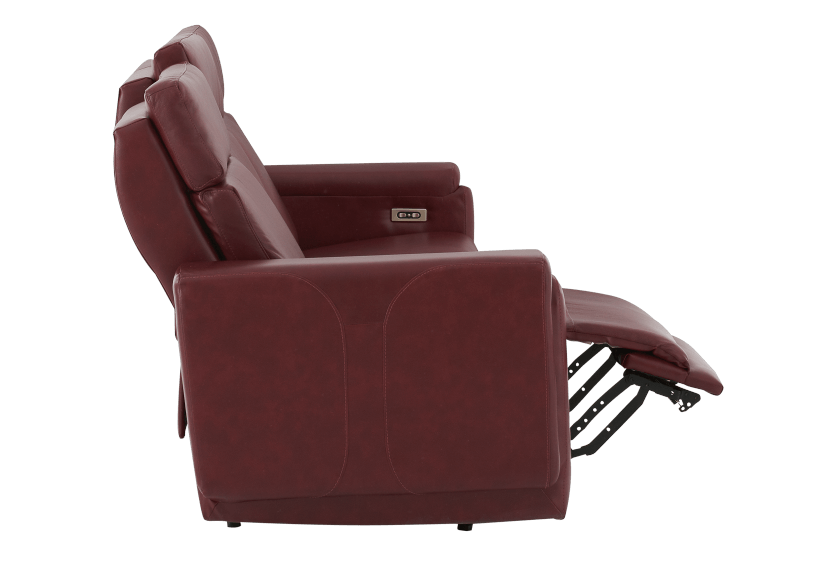 Red Reclining and Battery Motorized Sofa with Genuine Leather Seats - ELRAN product photo other04 L