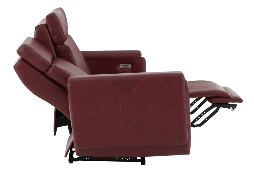 Red Reclining and Battery Motorized Sofa with Genuine Leather Seats - ELRAN product photo other05 L