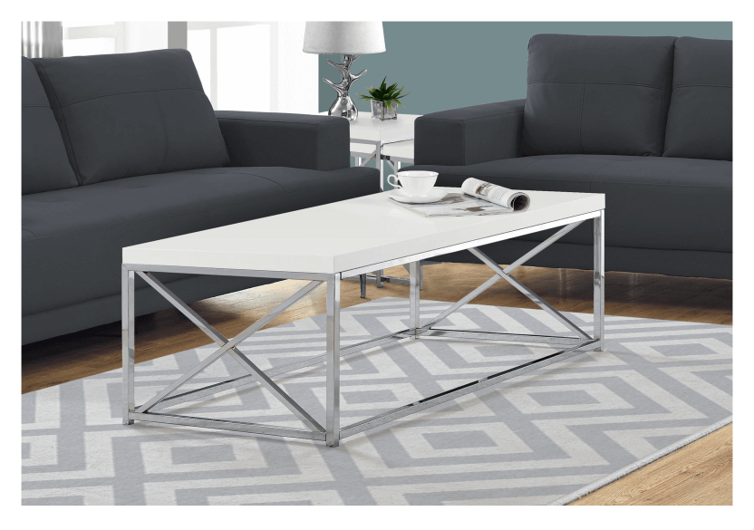White Coffee Table with Metal Legs product photo other04 L