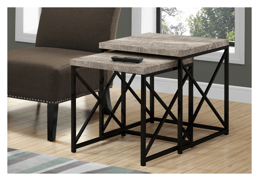 Brown Grey End Table with Black Metal Legs Set product photo other04 L