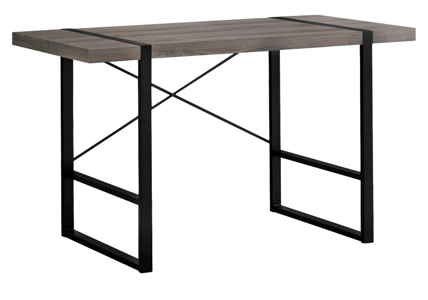 Dark Brown Grey Desk with Black Metal Legs product photo Front View L