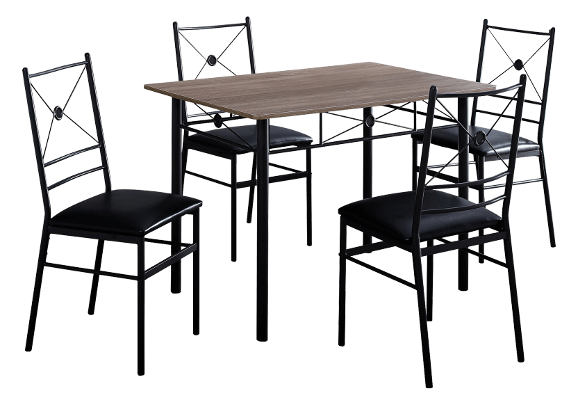 Dark Brown Grey Kitchen Room Furniture with Black Metal Legs product photo