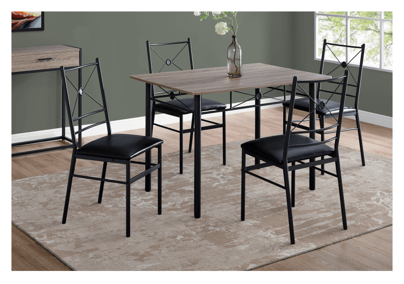 Dark Brown Grey Kitchen Room Furniture with Black Metal Legs product photo other04 L