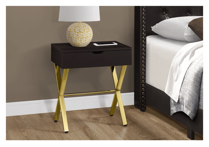 Dark Brown Accent Table with Golden Yellow Metal Legs product photo other01 L