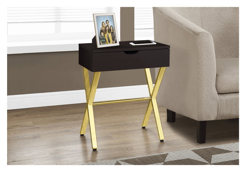 Dark Brown Accent Table with Golden Yellow Metal Legs product photo other04 L