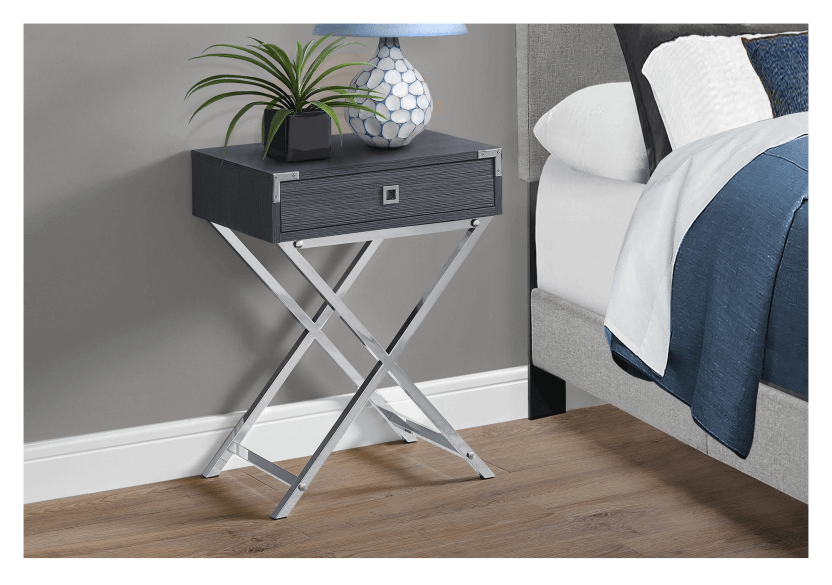 Grey Accent Table with Silver Grey Metal Legs product photo other01 L