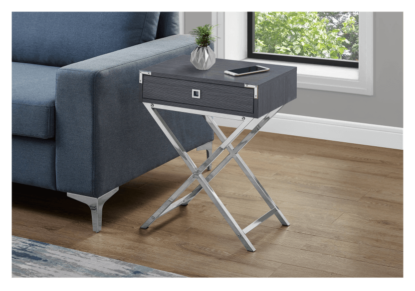 Grey Accent Table with Silver Grey Metal Legs product photo other04 L