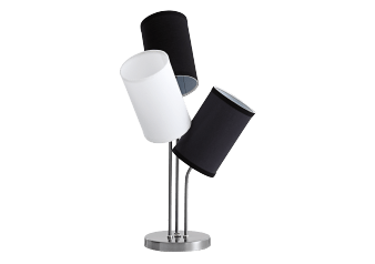 Brushed Metal Table Lamp with Black and White Shades product photo