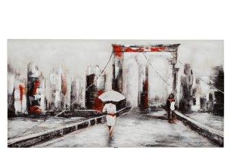 "30x60"" Red and Black City Painting product photo"